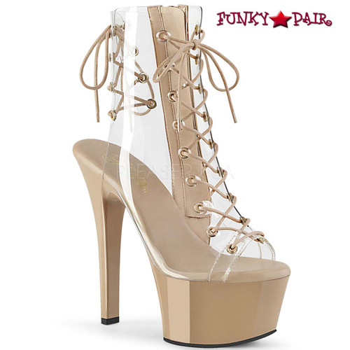 Stripper Shoes | Aspire-600-30, 6 Inch Clear Ankle Boots with Lace up color clear/cream