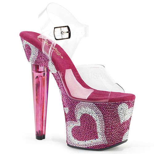 Stripper Shoes | LOVESICK-708HEART, Ankle Strap Platform with Heart Rhinestones