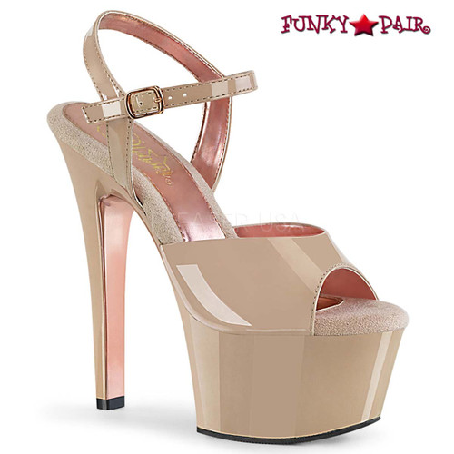 Aspire-609TT, Two-Tone Ankle Strap Sandal color Nude-Rose Gold