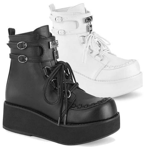 Demonia   Sprite-70, Platform D-Ring Lace up Ankle Boots