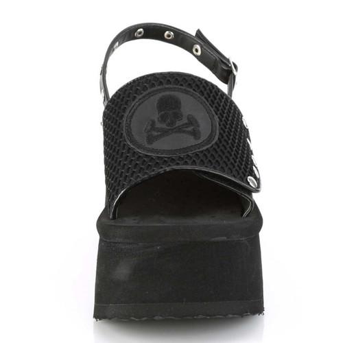 Funn-32, Black Vegan Leather Platform Sandal with Slingback | Demonia Women Shoes Front View