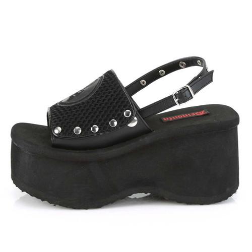 Funn-32, Side View Platform Sandal with Slingback | Demonia