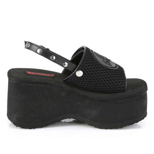 Funn-32, Black Vegan Leather Platform Sandal with Slingback | Demonia Women Shoes Side View