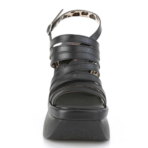 Pace-33, Front View Wedge Strappy Platform Sandal | Demonia Women's Shoes