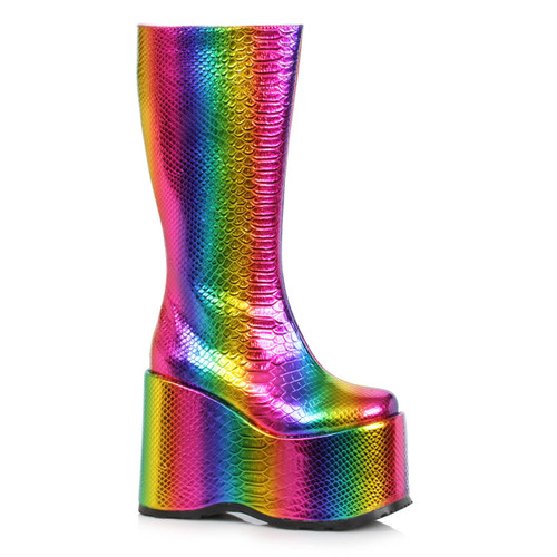 500-AMARA, Multi Color Wedge Platform GoGo Boots By Ellie Shoes