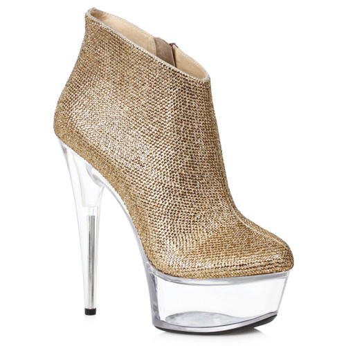 609-Andi, Gold Rhinestones Ankle Stripper Boots by Ellie Shoes