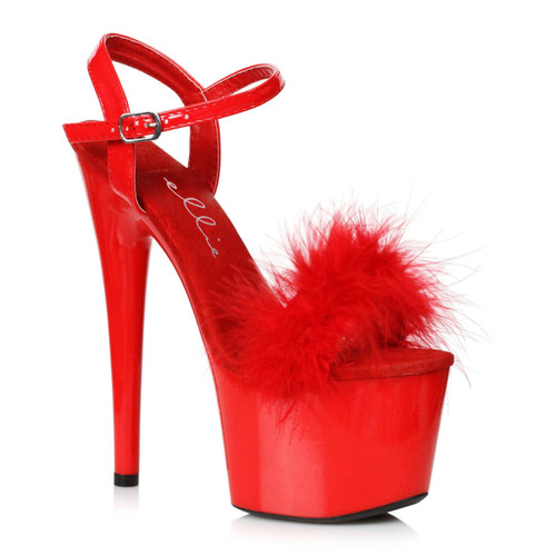 7 Inch Red Marabou Platform Sandal by Ellie Shoes 709-Whitney