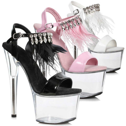Ellie Shoes | 709-Zahra, 7 Inch with Rhinestones and Feathers