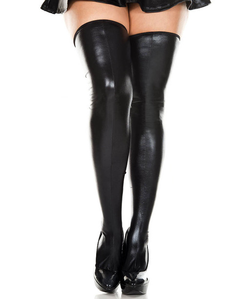 Plus Size Wet Look Thigh High Stockings by Music Legs ML-45112Q
