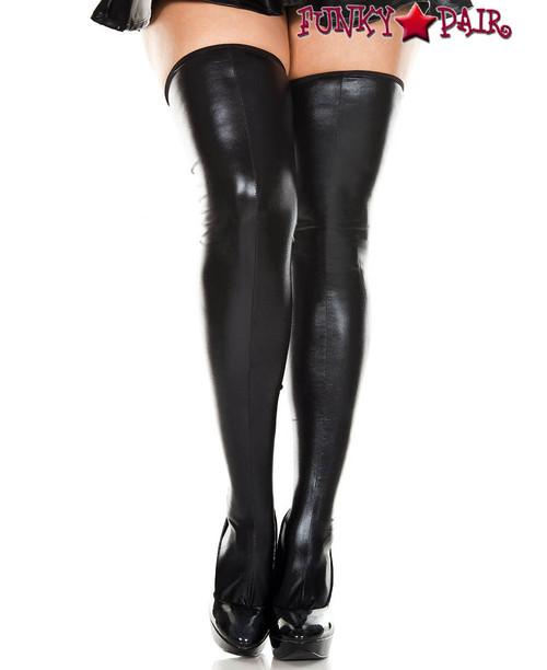 Music Legs ML-45112Q, Plus Size Wet Look Thigh High Stockings