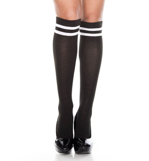 Knee High with Double Striped Top by Music legs ML-5652