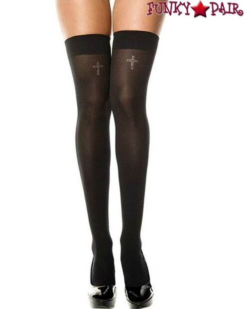 Music Legs ML-4755, Rhinestones Cross Thigh High Stockings