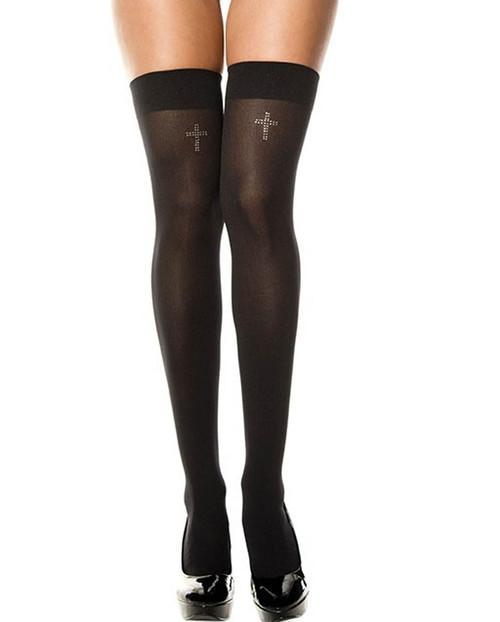 Rhinestones Cross Thigh High Stockings by Music Legs ML-4755