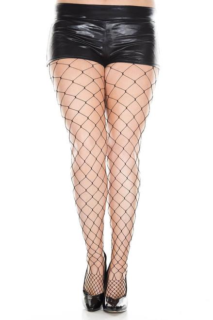 Plus Size Diamond Net Pantyhose |Music Legs ML-9024Q