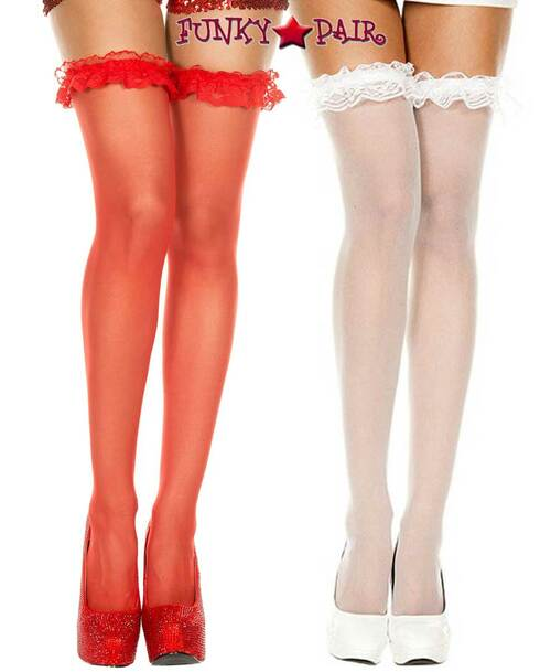 Music legs | ML-4107, Sheer Stocking with Lace Ruffle Top