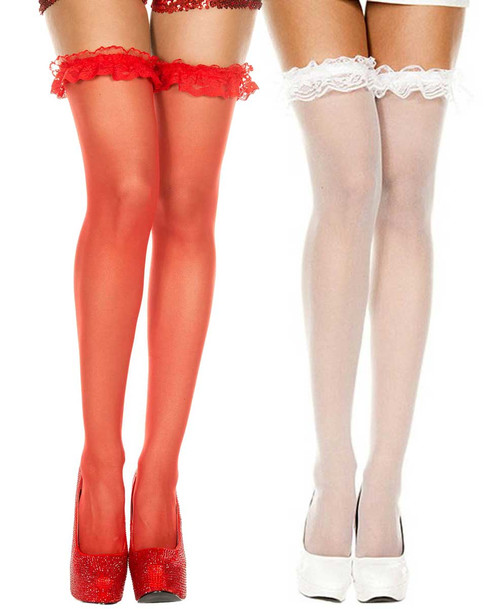 Sheer Stocking with Lace Ruffle Top by Music legs ML-4107
