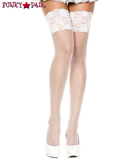 White Fishnet Stockings with Wide Lace by Music Legs ML-4920