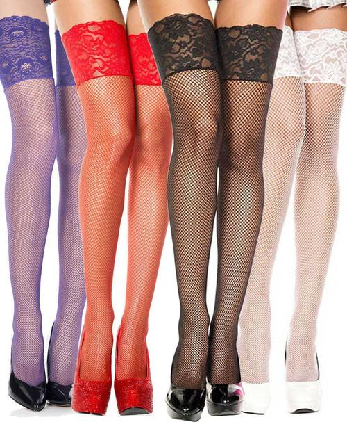 Music Legs   ML-4920, Wide Lace Fishnet Stockings