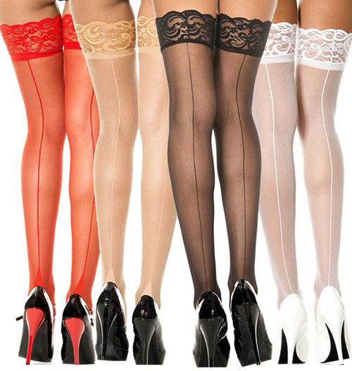 Music Legs | ML-4119, Lace Top Thigh High Stocking with Back Seam