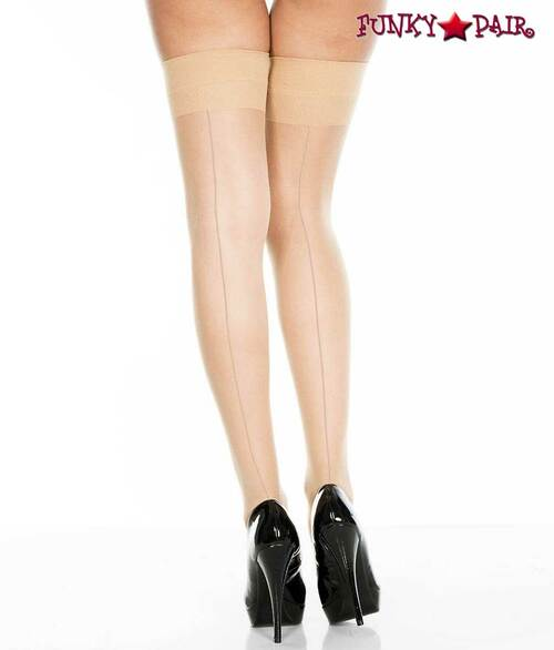 Backseam Sheer Beige Stockings by Music Legs ML-4102