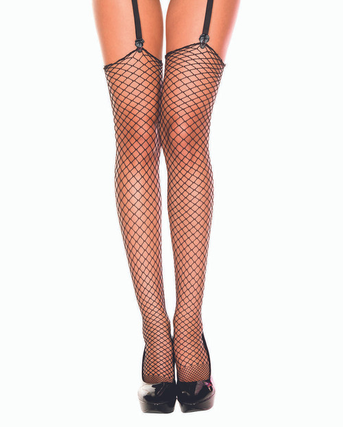Black Diamond Net Thigh High Stockings by Music Legs ML-4936