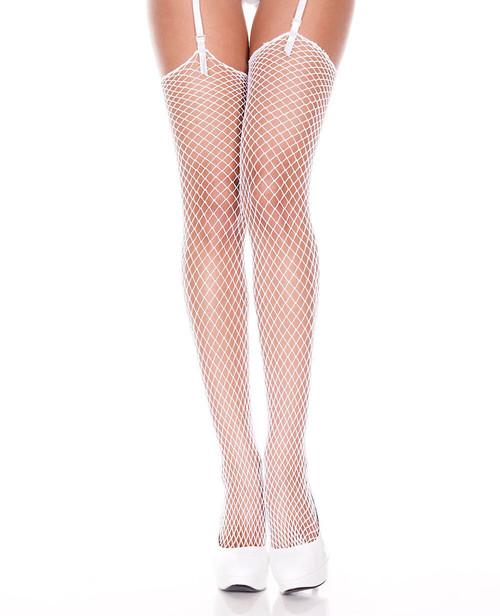 White Diamond Net Thigh High Stockings by Music Legs ML-4936