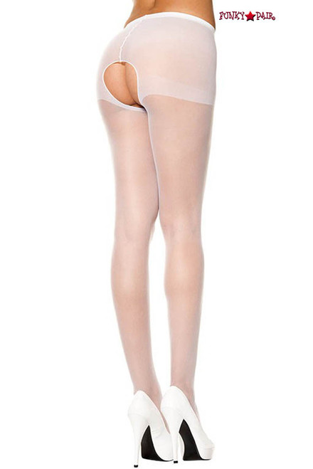 White Crotchless Sheer Pantyhose Music Legs | ML-800