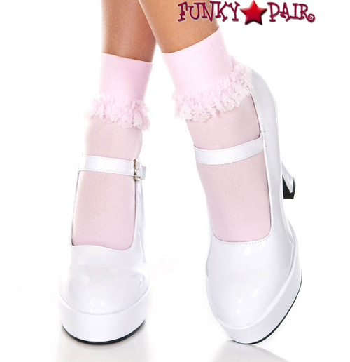 Mucis Legs ML-513, Baby Pink Opaque Ankle High with Ruffle Trim