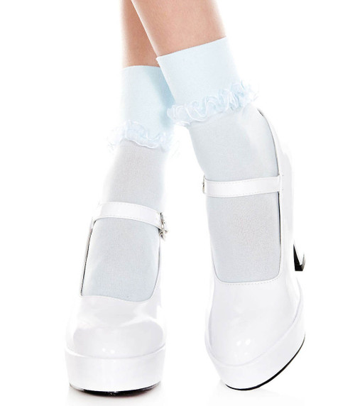 Music Legs | Baby Blue Ankle High with Ruffle Trim, ML-514