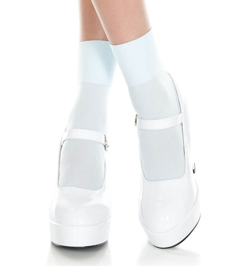 Baby Blue Opaque Ankle High by Music Legs ML-512