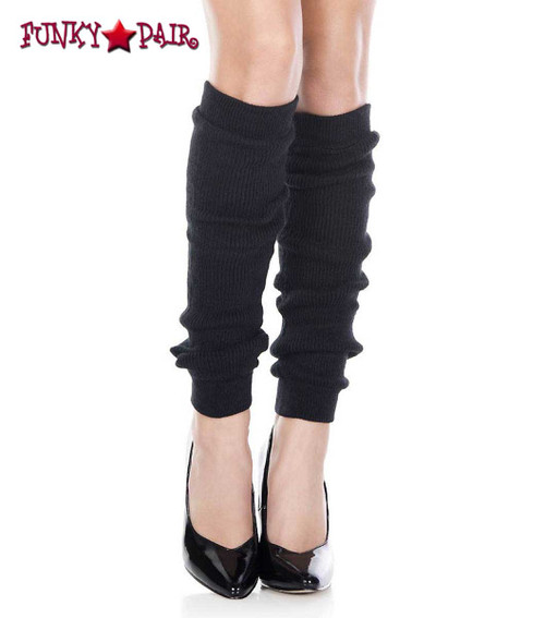 Black Acrylic Knee High Leg Warmer by Music Legs   ML-5724