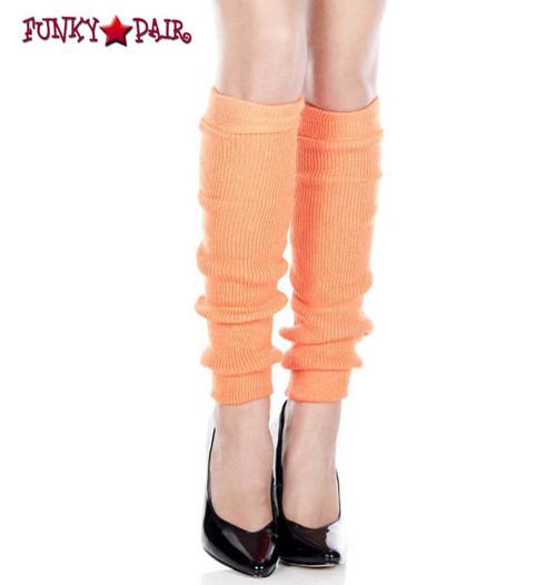 ML-5724, Neon Orange Acrylic Knee High Leg Warmer by Music Legs