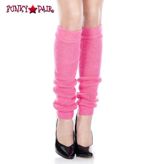 ML-5724, Neon Pink Acrylic Knee High Leg Warmer by Music Legs
