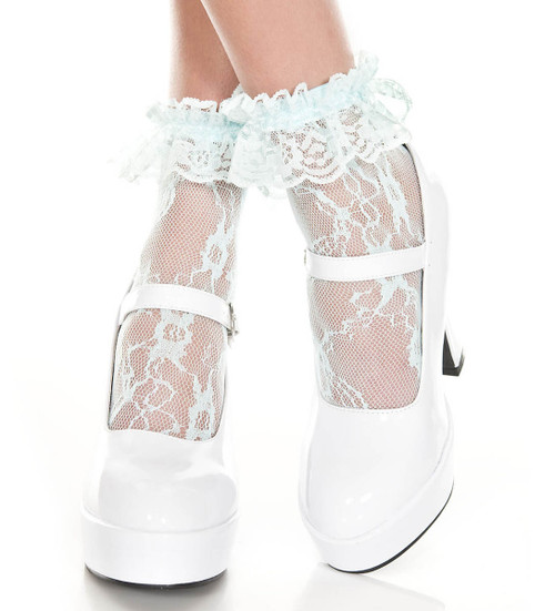 Baby Blue Lace Ruffle Ankle High by Music Legs ML-574