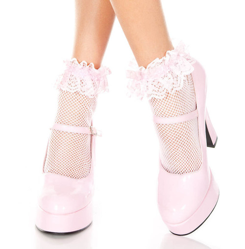 Baby PinkFishnet Ankle High with Ruffle Trim by Music Legs ML-597