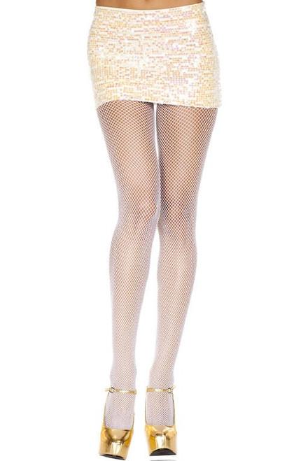 White Fishnet Spandex Pantyhose by Music Legs ML-9000