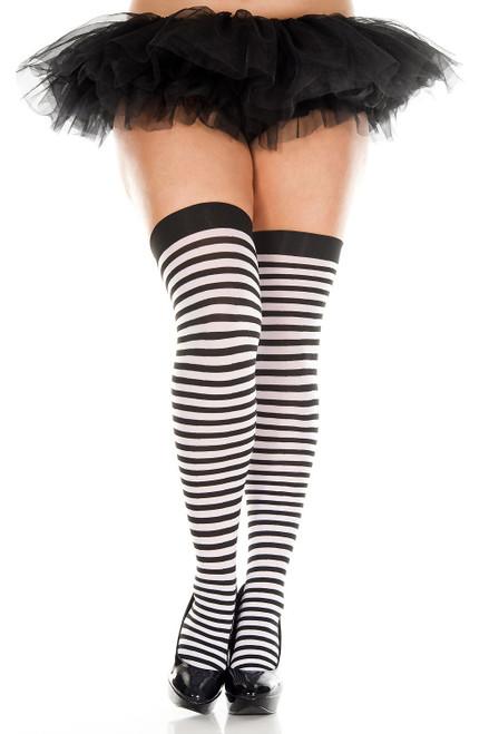 Black/White Striped Thigh Highs Stocking by Music Legs ML-4741Q