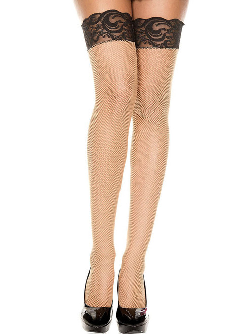 Music Legs | Two Tone Fishnet Thigh Highs, ML-4918 color Beige/ Black