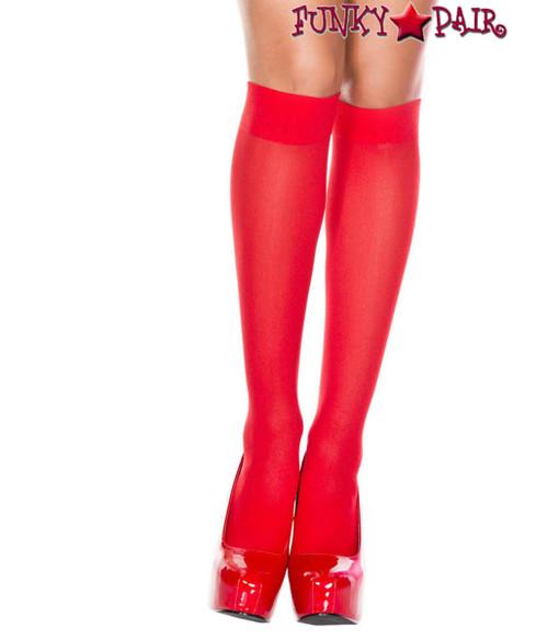 Red Opaque Knee High Socks by Music Legs ML-5747