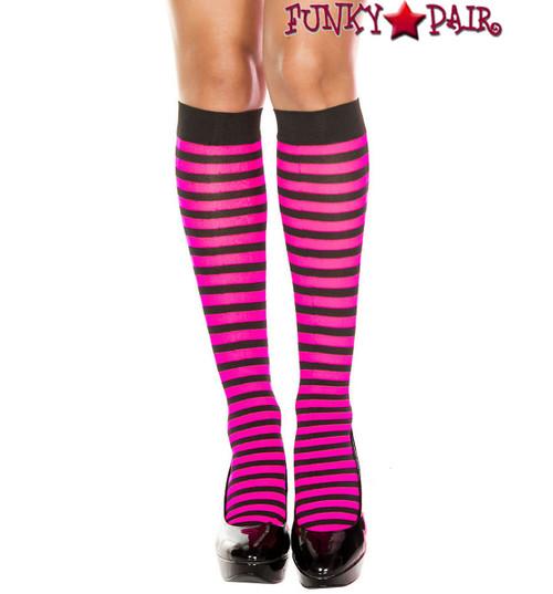 ML-5741, Black/Hot Pink Striped Knee High Socks by Music Legs