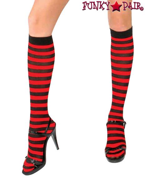 ML-5741, Black/Red Striped Knee High Socks by Music Legs