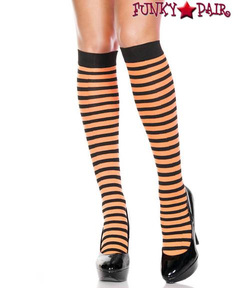 Black/Neon Orange Striped Knee High Socks by Music Legs ML-5741