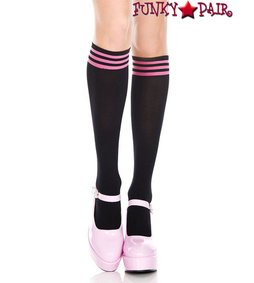 Black Knee High Sock with Hot Pink Striped Top by Music Legs ML-5736