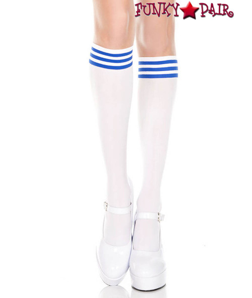ML-5736, White Knee High Sock with Blue Striped by Music Legs