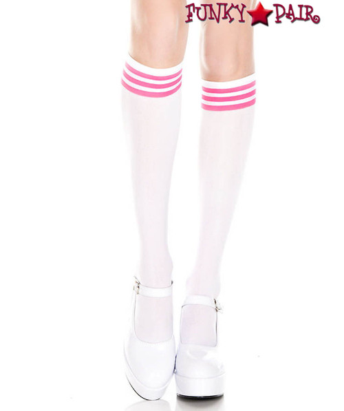 Music Legs ML-5736, White Knee High Sock with Neon Pink Striped
