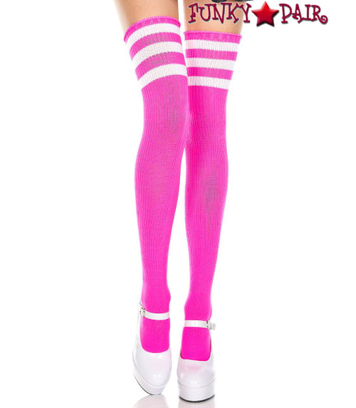 Hot Pink Thigh High With White Athletic Striped by Music Legs ML-4245