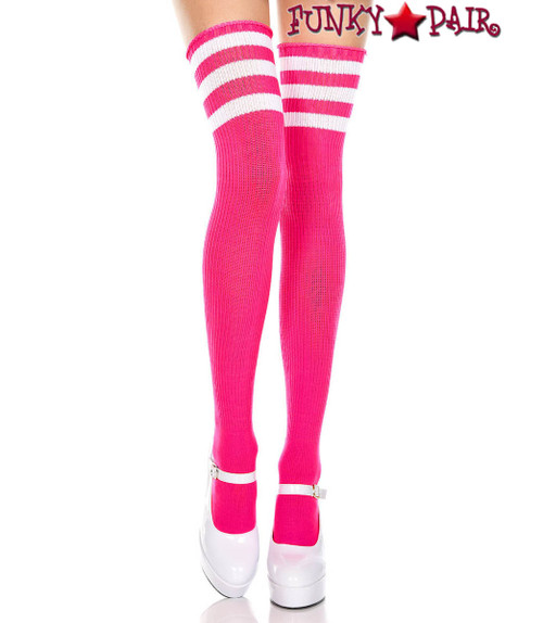 Fuchsia Thigh High With White Athletic Striped by Music Legs ML-4245
