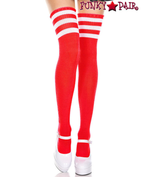 Music Legs ML-4245, Red Thigh High With White Athletic Striped