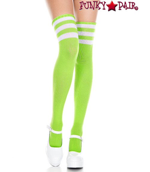 Lime Green Thigh High With White Athletic Striped by Music Legs ML-4245