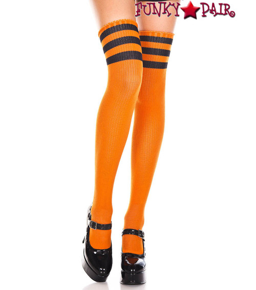 Music Legs ML-4245, Orange Thigh High WithB lack Athletic Striped